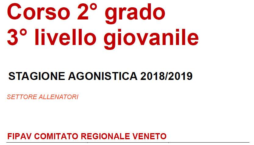 Corso Allenatori 2° Grado Regione Veneto 2019